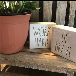 Rae Dunn WORK HARD / BE BRAVE block 2 available